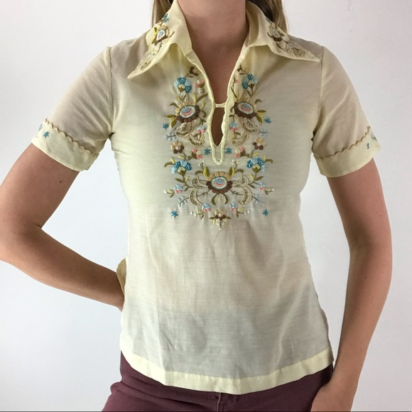VINTAGE Boho Hippie Floral Embroidered Top XS